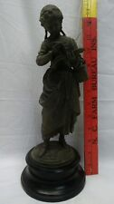 Vintage Spelter Young Girl Reading Alphabet Book with Black Base