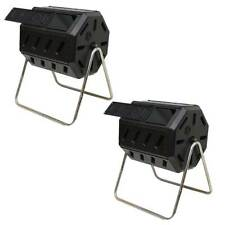 FCMP Outdoor 37 Gal Dual Chamber Tumbling Composter Bin for Soil (2 Pack)