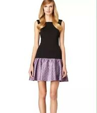 BNWT 100% Auth ERIN Fetherston Ladies Black/Violet Dress UK 4-6 RRP $275