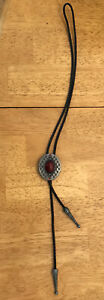 Men's Bolo Tie with Red Gem Thingy In The Middle