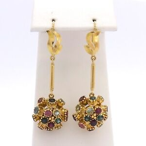 Vintage 18K Gold Gemstone Sputnik Front Closure Dangle Leverback Earrings 8gr