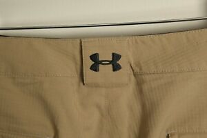"Under Armour Men's solid tan khaki performance Golf shorts 36 10"" inseam"