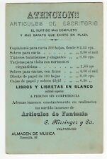 """CHILE 1895 advertising stationery """"Office Articles"""""""