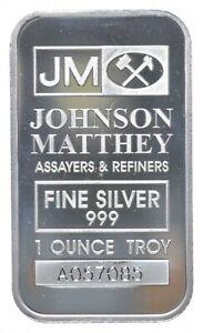 Rare Silver 1 Troy Oz. Johnson Matthey Bar .999 Fine Silver *847