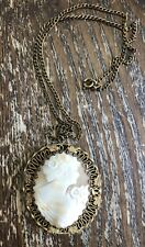 Vintage Brass Bold Carved Shell Cameo Dimensional Lady Floral Pendant w Chain