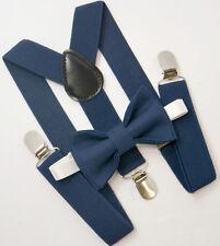 SET Kids Boys Mens Baby NAVY blue Suspenders & NAVY Bow tie Infant - ADULT