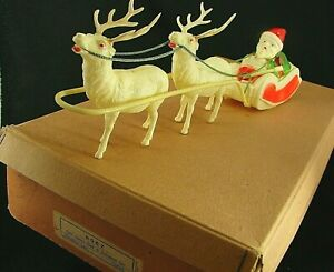 "Antique ""9067 Celluloid Santa Sled & Reindeer Set"" in Box - ""Made in Japan"" '30s"