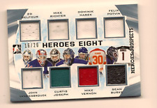 BELFOUR, RICHTER, HASEK 16-17 LEAF HEROES & PROSPECTS 8-WAY GAME USED JERSEY /20