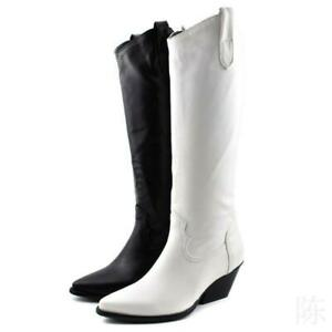 Womens Ladies Wedge Boots Knee High Mid Heel Cowgirl Cowboy Shoes Big Size 34-48