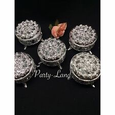12 Silver Round Plastic Trinket Box Wedding Favor Table Decorations