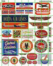 7036 DAVE'S DECALS VINTAGE AIRCRAFT AIRLINE SET DELTA TWA WACO CENTRAL WESTERN