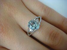 1.14 CT AQUAMARINE AND DIAMONDS BEAUTIFUL CLASSIC RING 14K WHITE GOLD