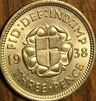 1938 UK GREAT BRITAIN SILVER THREEPENCE UNCIRCULATED !