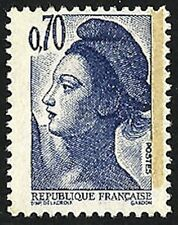FRANCE variété LIBERTE 0,70 F bleu-violet papier WHILEY YT 2240