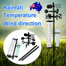 3IN1Garden Rain Gauge Wind Direction Thermometer Weather Meteorological Measurer