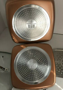 """New Copper Chef Non-Stick 5 Piece Set 9.5"""" Square Pan Fry Basket Steamer Tray ++"""