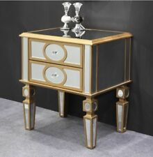 New Stunning Gold Circle Pattern 2 Drawer Bedside Table Mirrored Home Decor