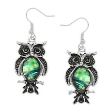 Owl Fashionable Earrings - Fish Hook - Abalone Paua Shell