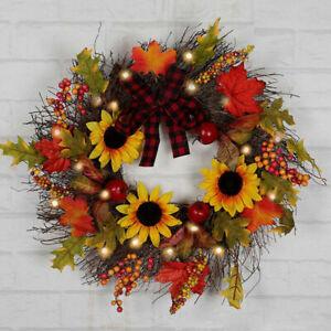 Autumn Maple Leaf Wreath LED Lighted Sunflower Door Garland Xmas Home Decor 45cm