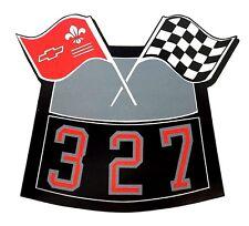 327 FLAGS CHROME AIR CLEANER DECAL CHEVY CAMARO CHEVELLE NOVA TRUCK CAPRICE