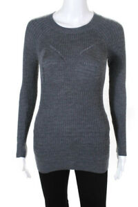 Tao Comme Des Garcons Womens Long Sleeve Ribbed Crewneck Blouse Gray Size Small