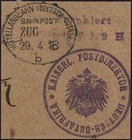 180/DOA 1916 Briefstück Vorausfrankierung ° Mittellandbahn Bahnpost Zug o. Nr. b