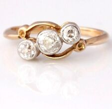 Antique 18ct Gold Old Cut Natural Diamond Three 3 Stone Crossover Ring. 0.35ct K