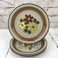 Vintage JC Penny Stoneware Dessert Salad Plate Set of 3 Daisy Vale Floral Flower