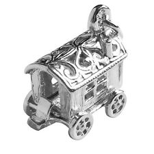 Gypsy Caravan Charm Sterling Silver 925 Wagon Opens to Fortune Teller