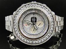 Mens 3 Row Breitling Super Avenger Aeromarine 55 MM Genuine Diamond Watch 35 Ct