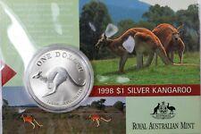 1998 Australia Royal Mint Silver $1 One Ounce .999 Kangaroo - Australian Ogp