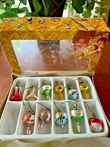 11 Vintage MINIATURE Christmas Ornaments, in Box