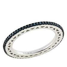 .25ctw Colored Blue Diamond Sterling Silver Eternity Band Ring Size 8