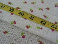 """989 FABRIC Pink Rosebuds on White Textured Knit Unique 64"""" W"""