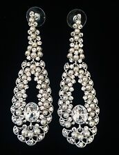 EARRING using Swarovski Crystal Dangle Drop Wedding Bridal Silver Pearl SW26 New