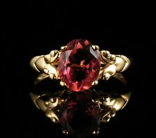 CLYDE DUNEIER SIGNED OVAL CUT NATURAL 3.0ct PINK TOURMALINE SOLID 14K GOLD RING