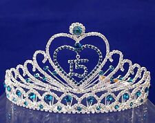 Turquoise Silver Quinceanera Tiara Crown Sweet 15 Mis Quince Anos with Combs