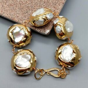 big coin shape natural  White Keshi Pearl pave 24k Gold plated wrap Bracelet