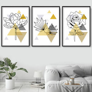 SET of 3 yellow GEOMETRIC Line Floral ROSE Leaves FLOWER Wall Art Prints ONLY