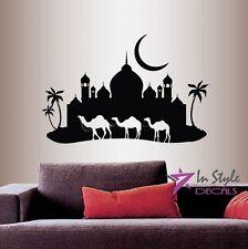 Vinyl Decal Arabian Night Camel Caravan Mosque Palace Skyline Wall Decor 199