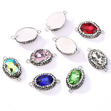 Oval Crystal Charms Connectors DIY Jewelry Making Findings Accessories 8 Colors