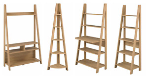 Tiva Scandinavian Retro Ladder Desk Corner Black Oak Art Deco Shelving 5 Tier