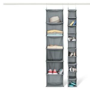 Room Essentials 6 Shelf Hanging Closet Organizer Grey Polyester Wipe Clean