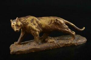Antique Tiger Predator Bronze Japan Signed Seibo Animal Hunt Sculpture Figure