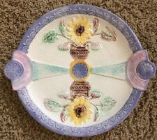 Antique English Majolica Samuel Lear Lavender Pink Sunflower Plate Platter