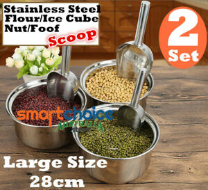 2 Stainless Steel Scoop Ice Buffet Candy Kitchen Shovel Nut Pet Food Flour Scoop