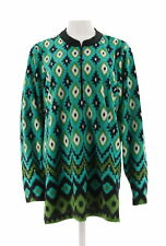 Bob Mackie Long Slv Half Zip Printed Fleece Pullover Turquoise XL # A271373