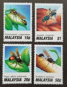 *FREE SHIP Insects (I) Wasps Malaysia 1991 Wildlife Nature Bee Flora (stamp) MH