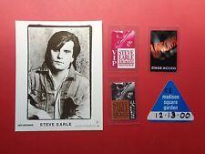 Steve Earle,1 promo photo,4 Backstage passes,Rare Originals,Various tours