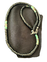 Mens Navajo Native Amer Gree Turquoise Heishi Onyx Sterling Silver Necklace01392